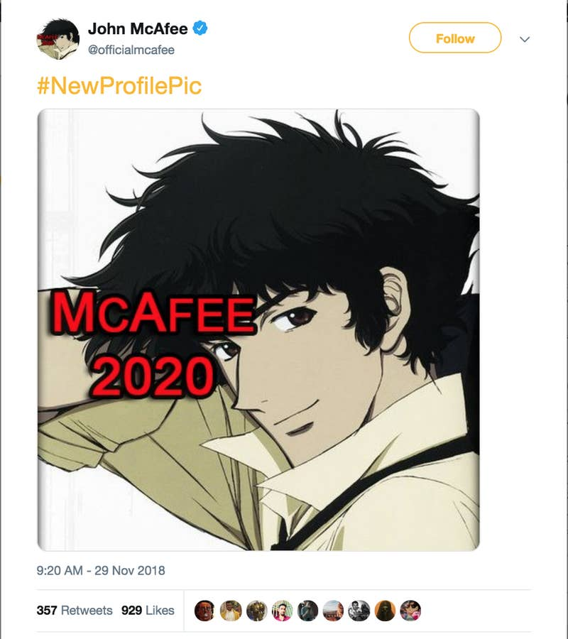 "The response on Twitter was pretty immediate. One user replied, ""ANIME IS BAD.""McAfee's Twitter activity is pretty erratic. Earlier this week, he tweeted about having sex with whales, writing, ""Some call me 'Whale Fucker'. Alright. There's a private club of a few dozen Maori men and one butch woman - that meet in Molokai each year to fuck a whale. True. Men on paddle boards herd the whale while one tries to fuck it. Wouldn't let me in the club. Tried it alone. Epic fail.""McAfee's Twitter shitposting is currently being guided by his campaign team's new ""millennial outreach coordinator,"" a 20-year-old named Zoe Nawar in Atlanta."