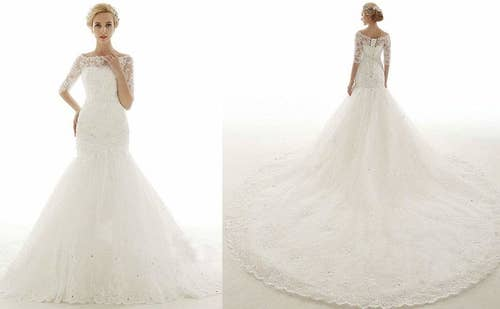 2de109fa2 A stunning gown with intricate lace sleeves and a train that will make your  guests' jaws drop upon your entrance.
