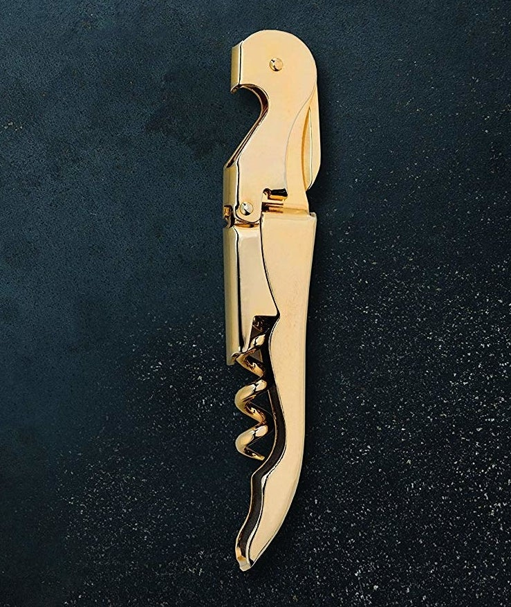 The gold corkscrew, which when closed is shaped like a bird