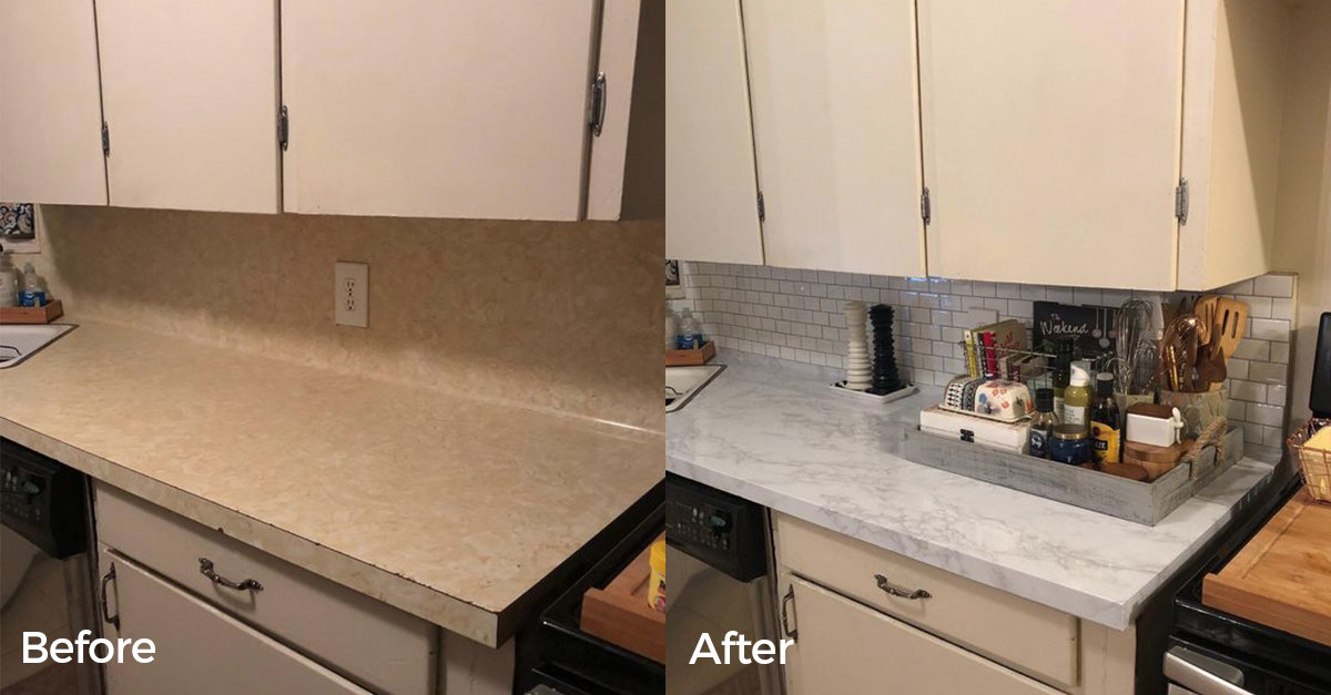 reviewer before and after photo showing the marble contact paper on their kitchen countertops