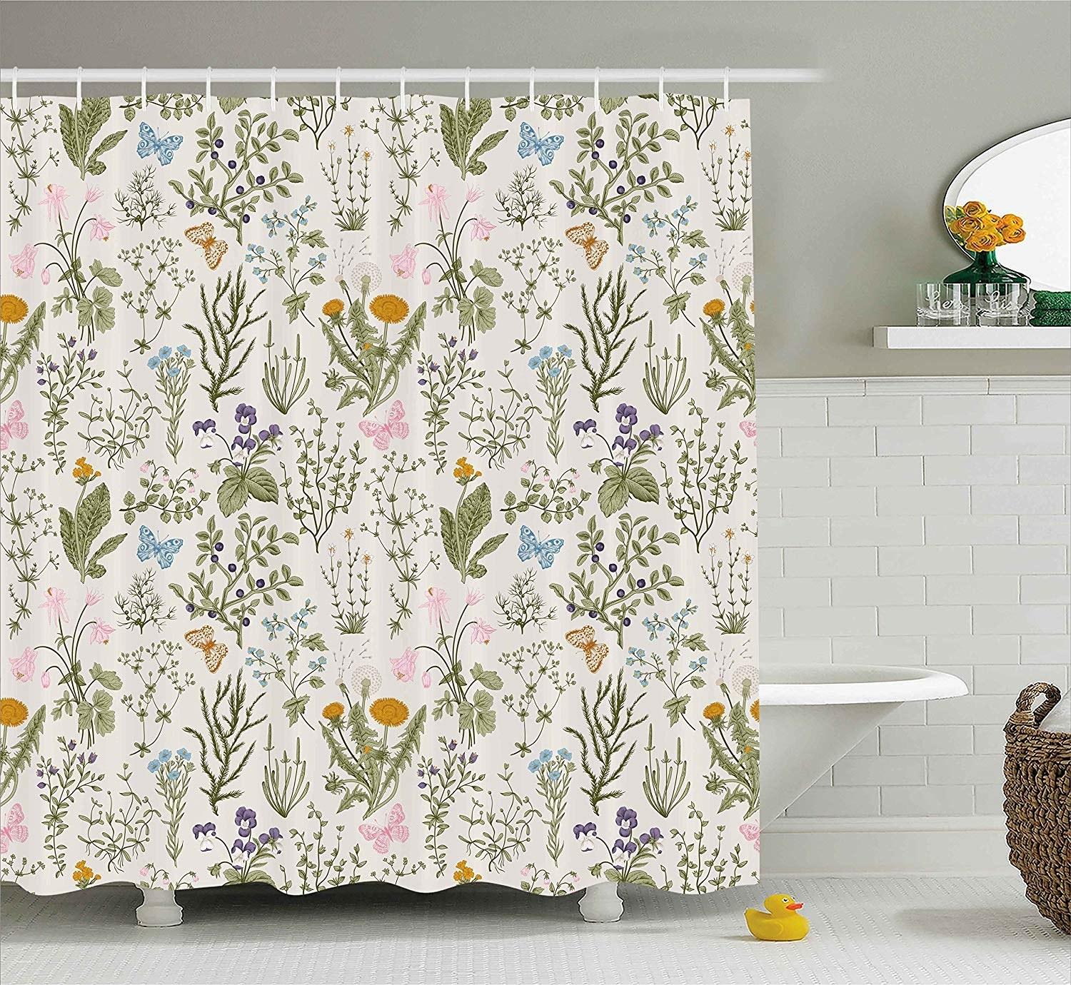 the off-white shower curtain featuring butterflies, leaves, berries, and flowers