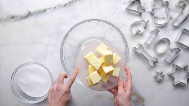 When we say softened butter, we mean softened, not melted. Leave your butter out at room temperature for at least an hour before you start prepping, so that you get the perfect fluffy texture when you cream the sugar and the butter together.