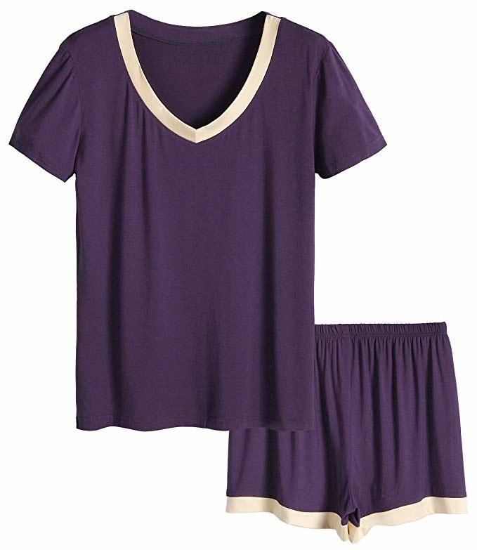 purple V-neck pajama top and matching shorts