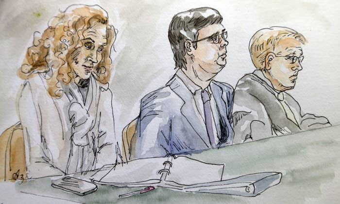 In this courtroom sketch, James Fields Jr. (center) sits with his attorneys Denise Lunsford (left) and John Hill during jury selection on Nov. 27, 2018.