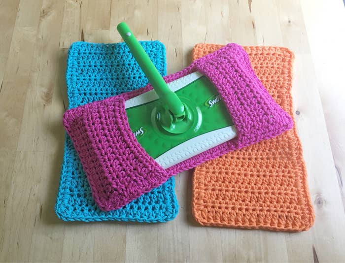 83e9089a6b9 A pack of reusable crocheted mop covers if their wet-wipe use has gotten  out of hand.