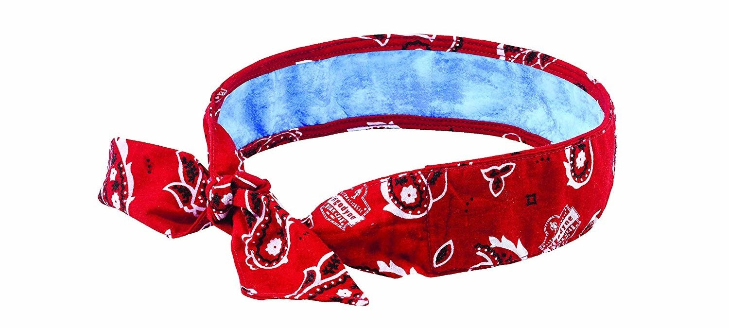 red loop bandana with blue cooling section visible inside
