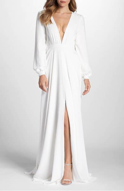 7bfc35534 23. And a chic V-neck gown that will make you look like a goddess who just  descended from an actual freakin' cloud.