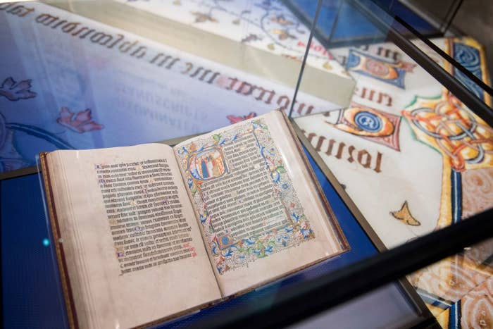 A bible in the History of the Bible exhibit.