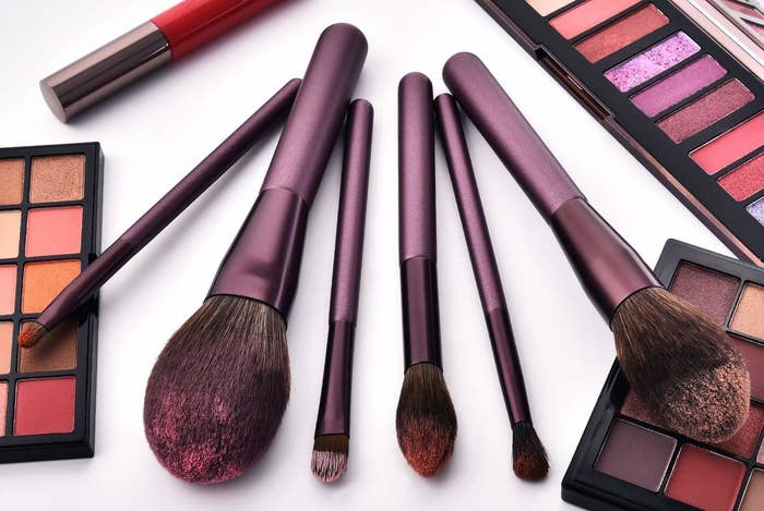 """This set comes with a foundation brush, angled contouring brush, powder brush, blush brush, highlight brush, concealer brush, eyebrow brush, lip brush, two eyeshadow brushes, blending brush, and blooming brush.Promising review: """" I love this product! They are so fluffy and comfy to use in general. Plus, they're good-looking! Taking its price into consideration, this is probably my favorite makeup brush set so far."""" —Bijun ZhouGet a set of 12 from Amazon for $11.99+ (available in eight styles)."""
