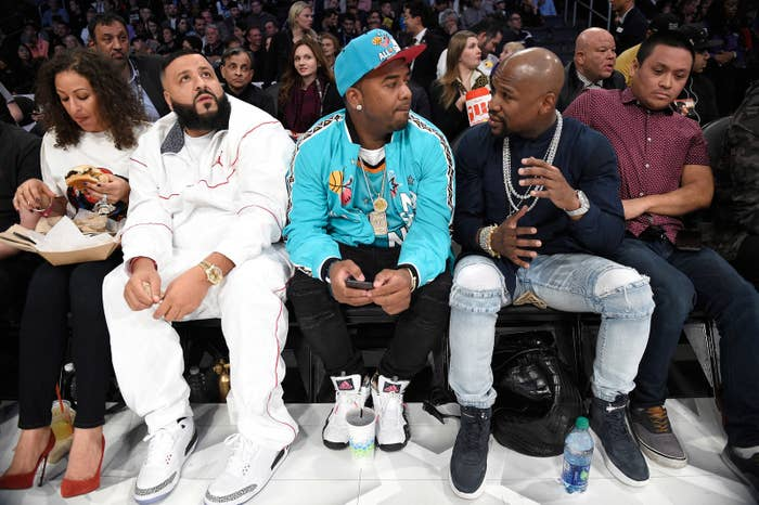 DJ Khaled (second from left) and Floyd Mayweather (second from right).