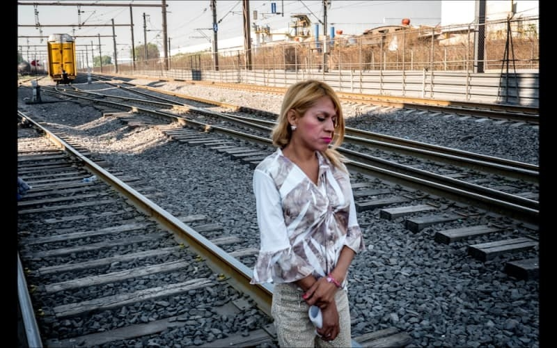 Roxsana Hernández Rodriguez at a train station in the outskirts of Mexico City in April 2018. A trans woman, she died in custody.