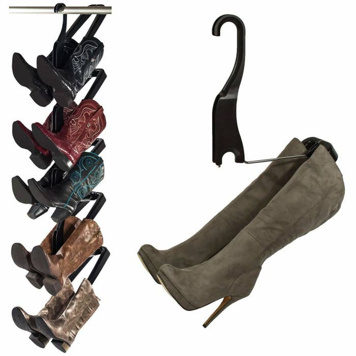 """Includes enough to hold five pairs. Can store vertically (as shown) or horizontally. Requires no installation.Promising review: """"Sometimes I'd waste time digging for the matching pair I was hoping to wear. I've been wanting to buy the Boot Butler, but was hesitant because of the price. After some time and frustration (especially with boot season approaching), I bought the Boot Butler for myself in October, as an early Christmas gift. WHY DID I WAIT SO LONG?! I loved it so much, I bought a second set a couple months later and am now contemplating buying another. I love that my boots aren't in a pile anymore; that they are easy to find and see, and I don't have to shuffle huge plastic boot boxes around, (an option I tried before and was not happy with)."""" —ZARGet enough for five pairs from Amazon for $69.99+ (also available in a standing version)."""