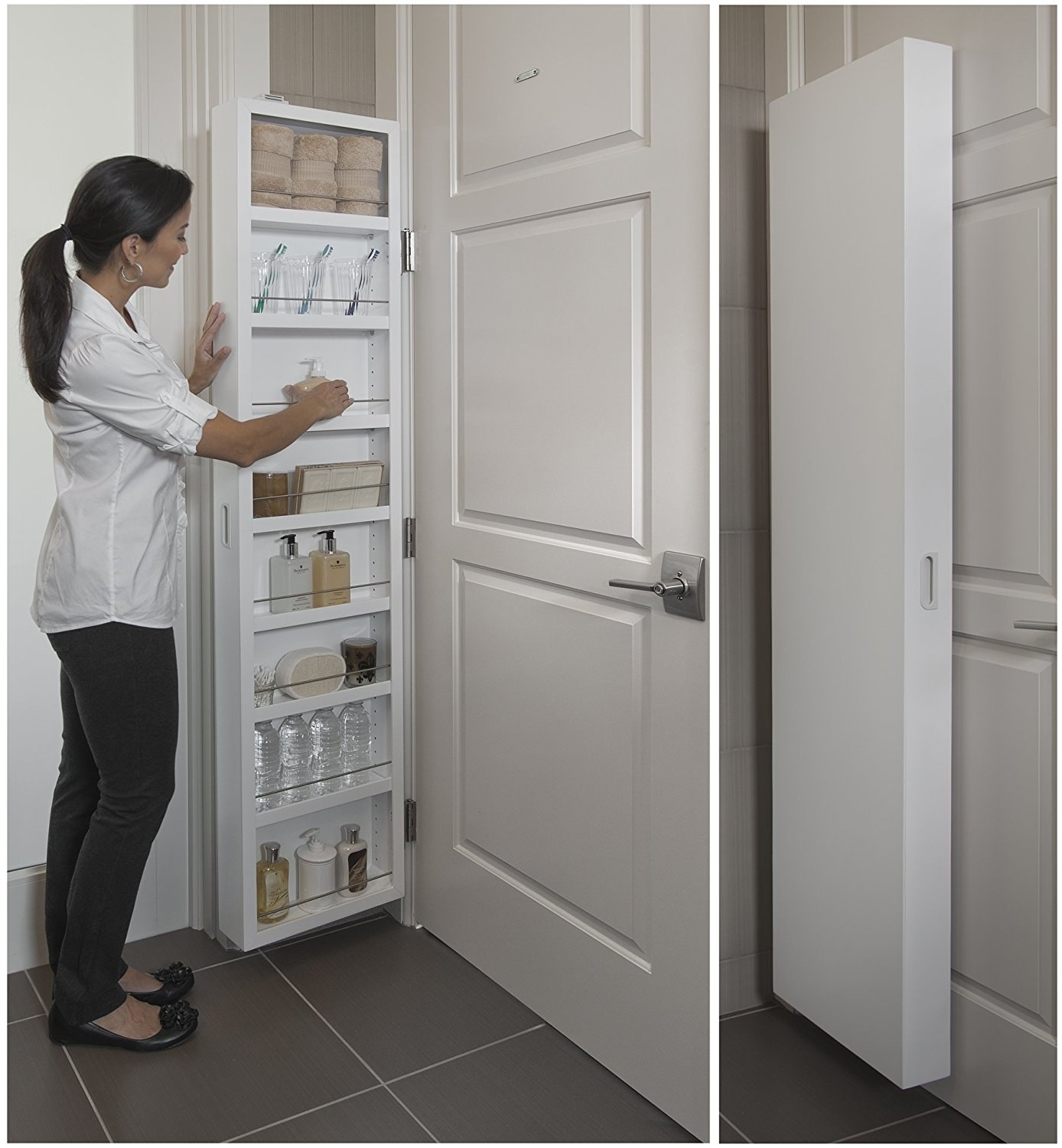 behind the door storage cabinet with open shelves