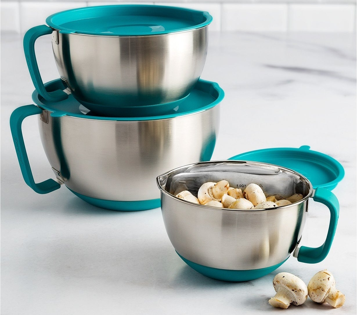 It has a lid so you can pop it in the fridge for later (great when you're making cookie dough and need the dough slightly chilled before scooping to make it less sticky), and a pour spout so you can neatly fill sheet pans and muffin tins with ease.Get it from BuzzFeed's Goodful line, exclusively at Macy's for $49.99 (originally $71.99)
