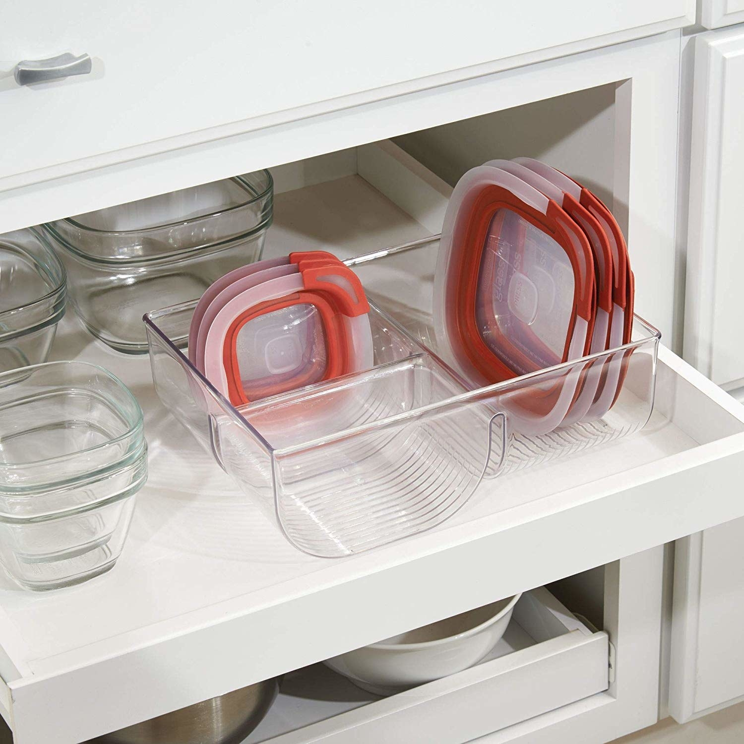 open pantry drawer with the clear notched organizer for storage container lids
