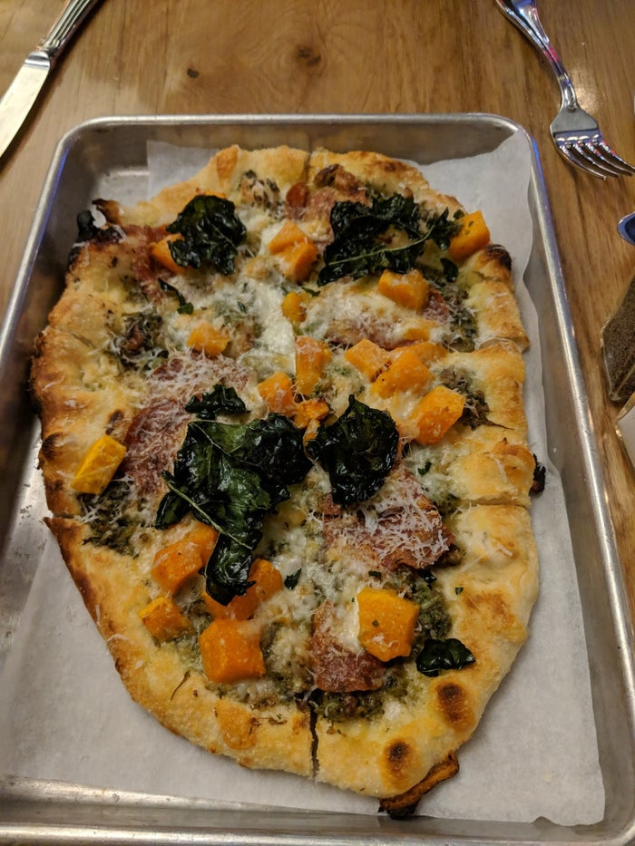Each night, Harold's offers special Flatbread of the Day and Pasta of the Day, such as the Pesto Flatbread topped with pepperoni, butternut squash, grilled kale, and parmesan. The melange of fall ingredients mesh perfectly together with the crunch from the grilled kale and flavors of autumn from butternut squash.