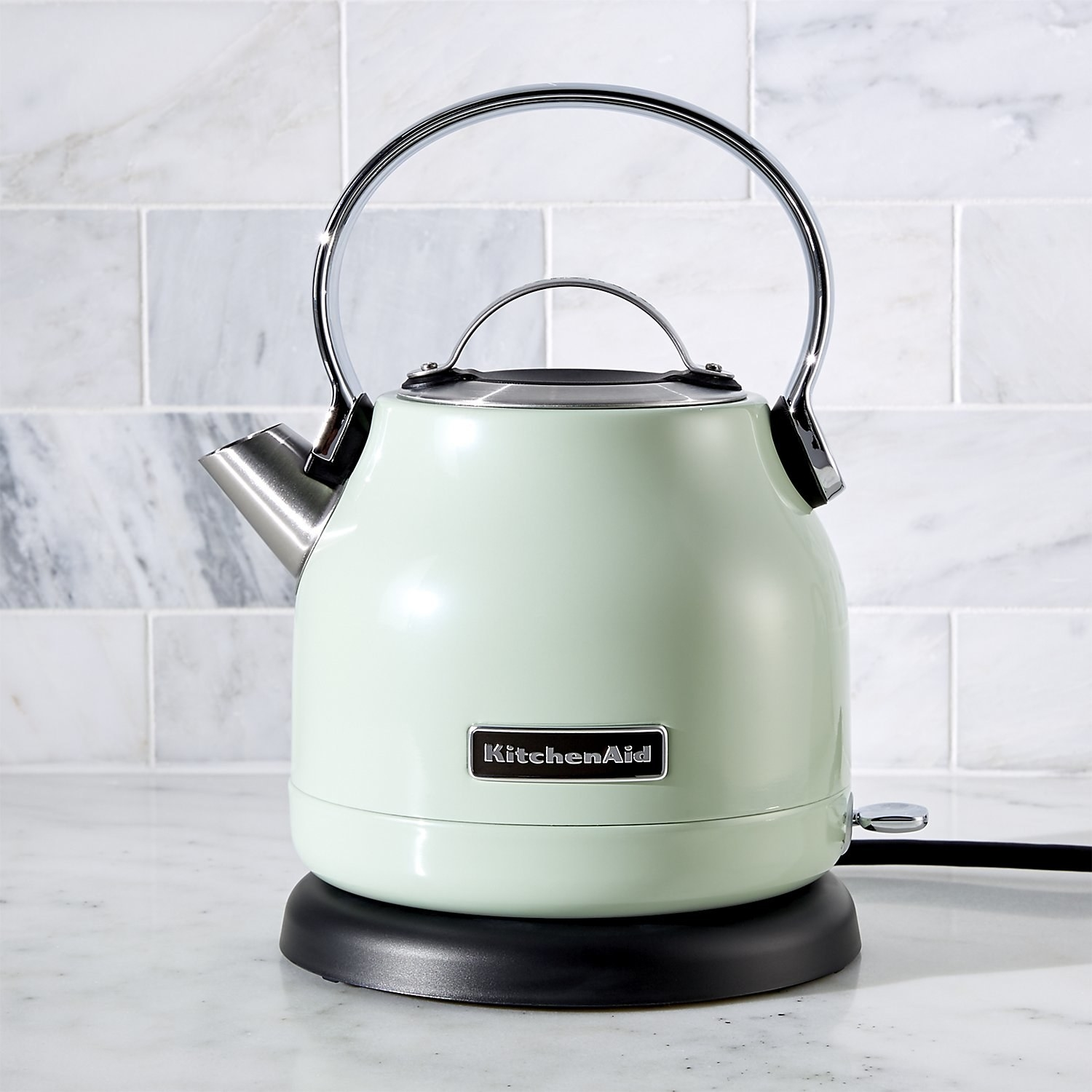 The kettle sitting on a counter