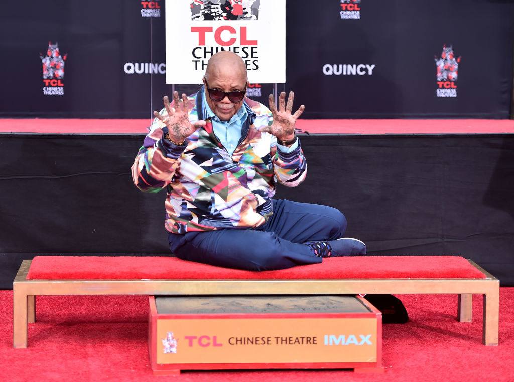 The 85-year-old legend left his hand and footprints in the cement outside of the TCL Chinese Theater. His daughter, Rashida Jones, along with Snoop Dog, Usher, Kareem Abdul-Jabbar, and Dr. Dre were there with him as he made history. Congrats, Mr. Jones!!