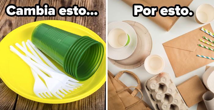 De preferencia, usa vajilla y cubiertos tradicionales. Si de plano no se puede, elige alternativas más ecológicas como platos de papel, vasos y cubiertos biodegradables. En páginas como Ecoshell, Denda, Amazon y Mercado Libre encuentras varias opciones.