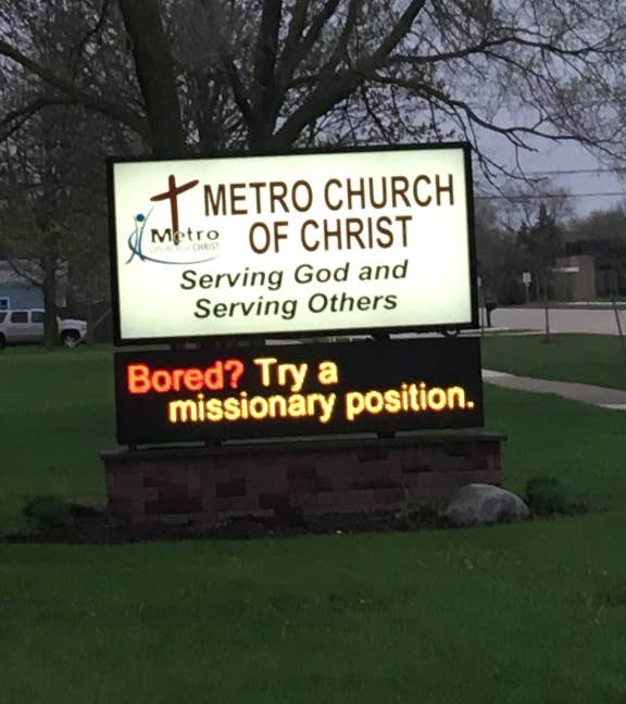 21 Of The Funniest Church Signs From 2018