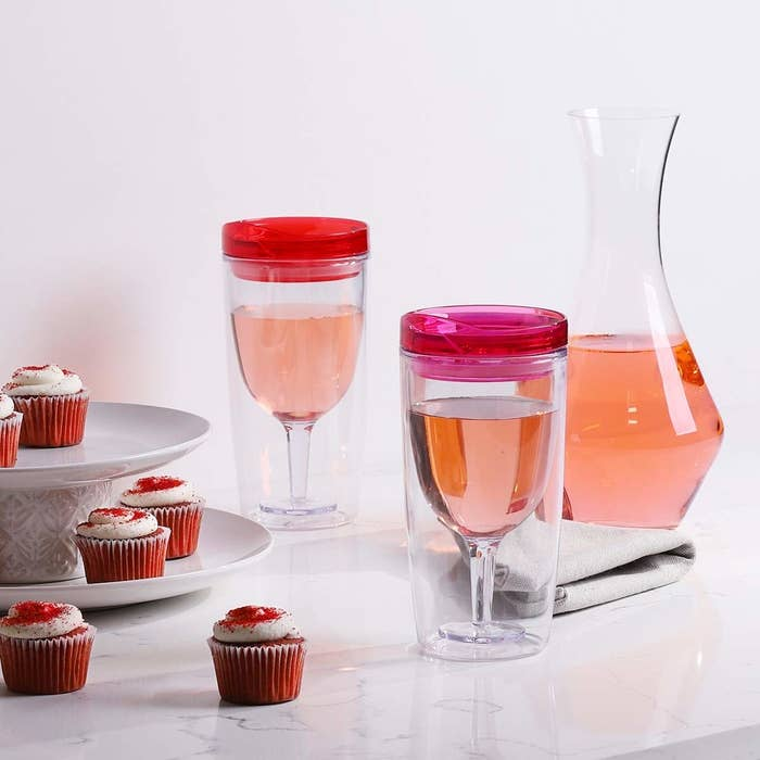 A set of wine sippy cups that'll save them some dignity when you're all drinking out of these as a group, obviously not because the last time they were over ...