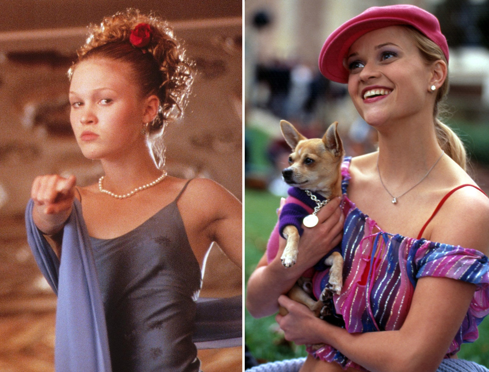 Kat (Julia Stiles) in 10 Things I Hate About You, 1999; and Elle (Reese Witherspoon) in Legally Blonde, 2001.