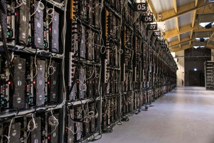 Mining rigs of a supercomputer inside the bitcoin factory Genesis Farming near Reykjavik, Iceland, on March 16, 2018.