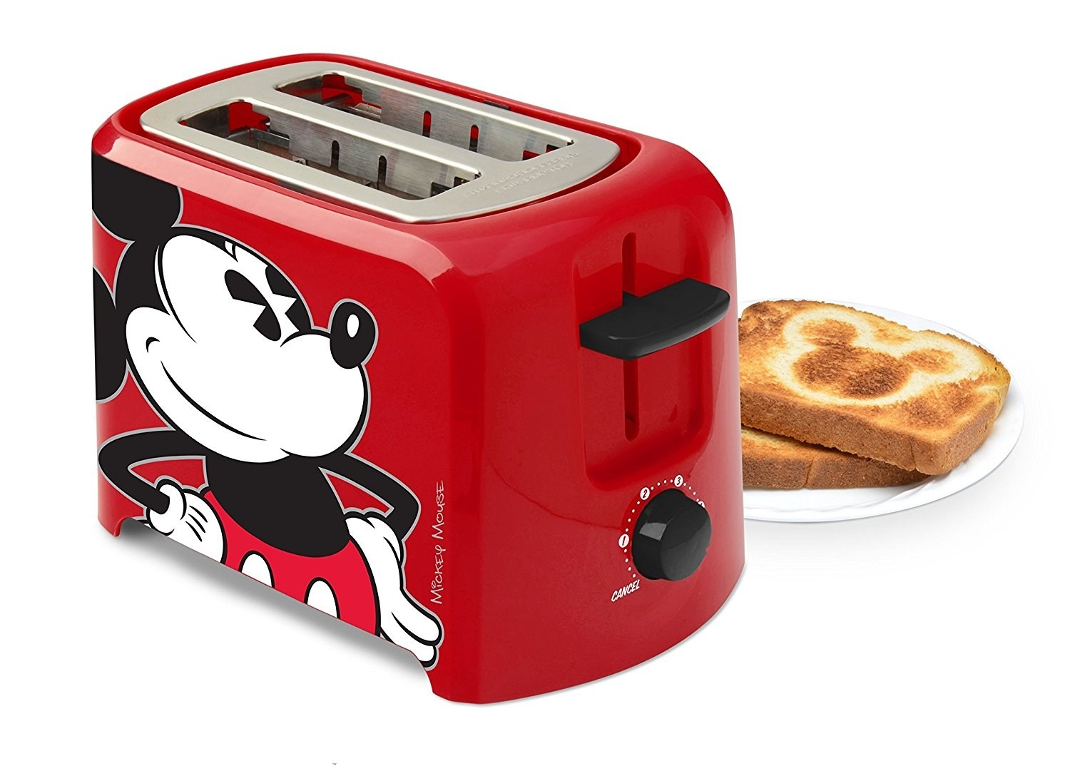 toaster with mickey on it that spits out toast with the classic mickey symbol toasted on it