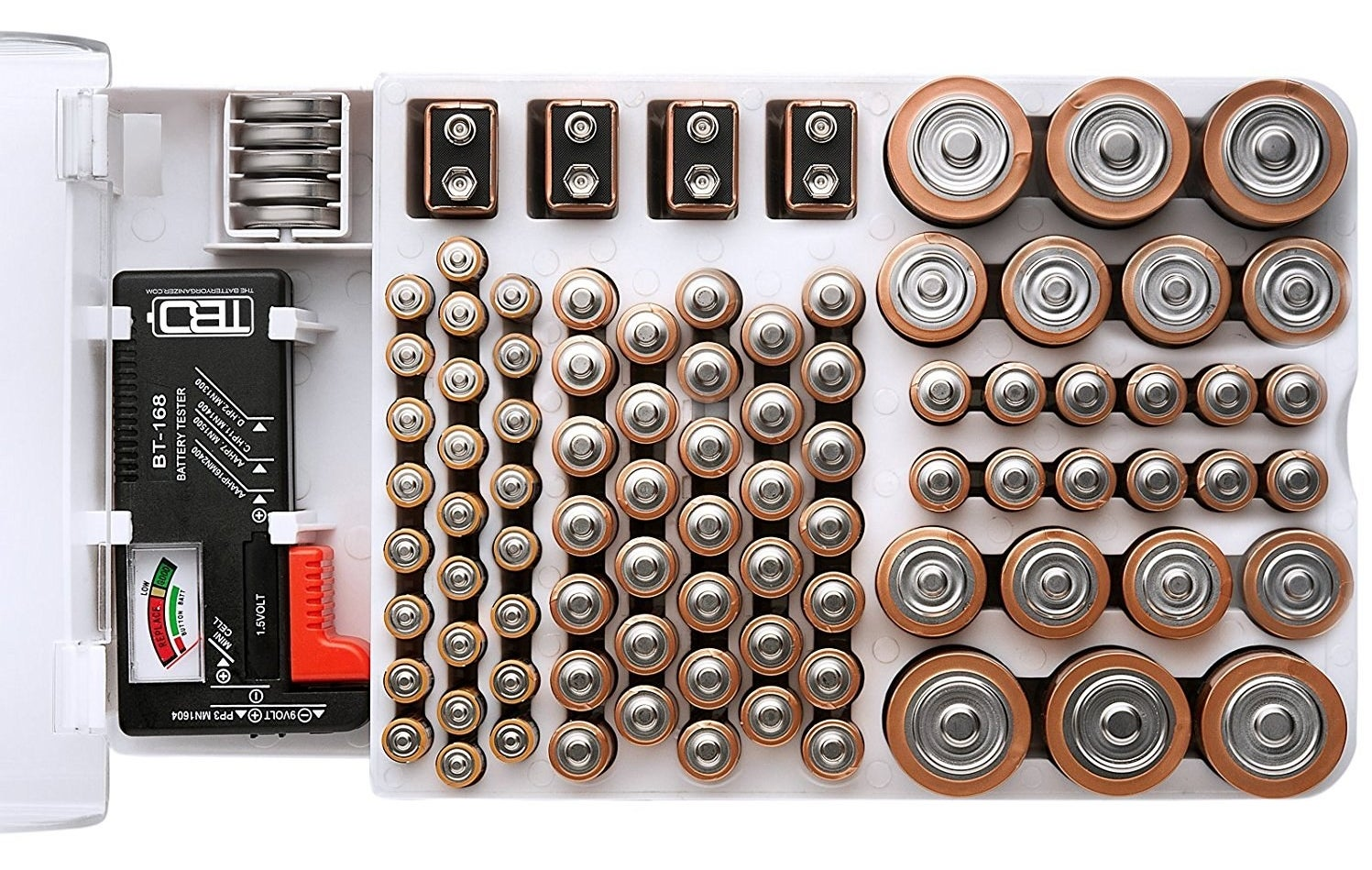 organizer with slots for different sized batteries