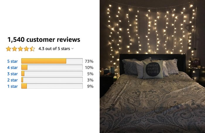 """Promising review: """"I love decorating my house with lights, even when it is not a holiday season. I like the way it brightens everything up, plus I think it's really relaxing to turn off the other house lights at night and just have the string lights on. I have a few different types of string lights, but they are all the standard type; one long strand of cord, with white lights in a line. I definitely do not own anything like this one! I love that there are new uses for these lights. They can be hanged along a bay window, a sliding glass door, a bedroom doorway, behind the backboard of a bed, etc. They can also be used at more formal occasions, like at a wedding/reception, baby shower, engagement party, etc. Not to mention the price is really great for what you get. If you're looking to decorate for a special occasion, or just really enjoy decorating your house with lights (like me), then these are really nice lights to purchase."""" —Kimberly Sue"""
