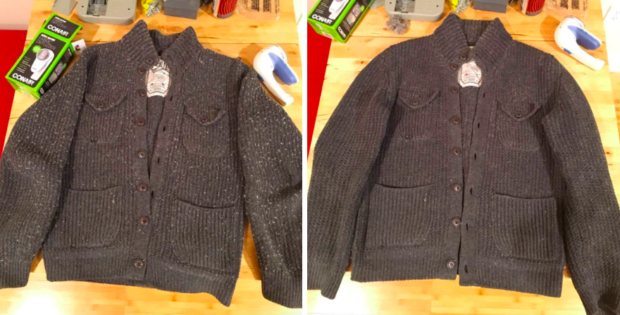 before/after of reviewer's sweater with tons of pills and an after showing sweater looking almost new