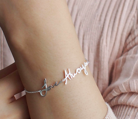 Bracelet with delicate cursive words that say Love Always