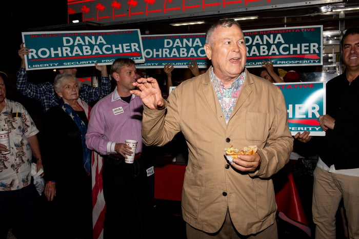 Rep. Dana Rohrabacher speaks to supporters at his campaign event in Costa Mesa, California, November 4, 2018.