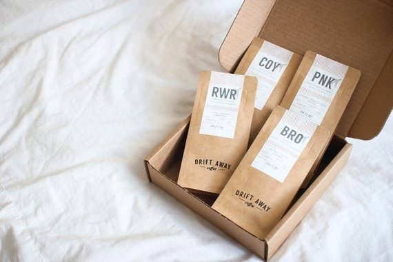 Get this set from Driftaway Coffee for $16.50. Driftwaway Coffee is owned by Anu Menon and based in Brooklyn, New York!