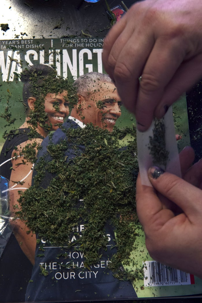 Members of the DC Marijuana Coalition preparing to handing out around 4,200 joints of legally grown cannabis on President Donald Trump's Inaugural Day.