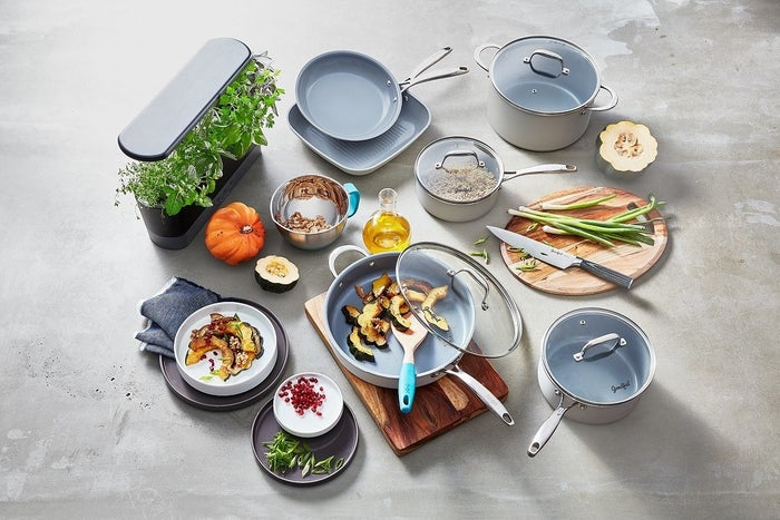 """Set includes: 9.5"""" fry pan, 2 Qt. saucepan with lid, 11"""" grill pan, 3 Qt. saucepan with lid, 4 Qt. jumbo cooker with lid and helper handle, 6 Qt. Dutch oven with lid and recipe bookletFeatures: PFOA- and PTFE-free, dishwasher-safe, titanium ceramic non-stick, stainless steel induction base, suitable for all cooking surfacesGet it from BuzzFeed's Goodful line, exclusively at Macy's for $119.99."""