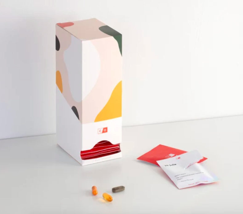 A box filled with the Care/of vitamin packs