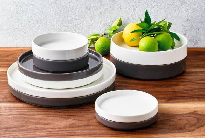 Each set comes with four dinner plates, four appetizer plates, four salad plates, four appetizer bowls, and four salad bowls. Everything's dishwasher-safe!Get a 20-piece set from BuzzFeed's Goodful line, exclusively at Macy's for $89.99 (available in two colors).
