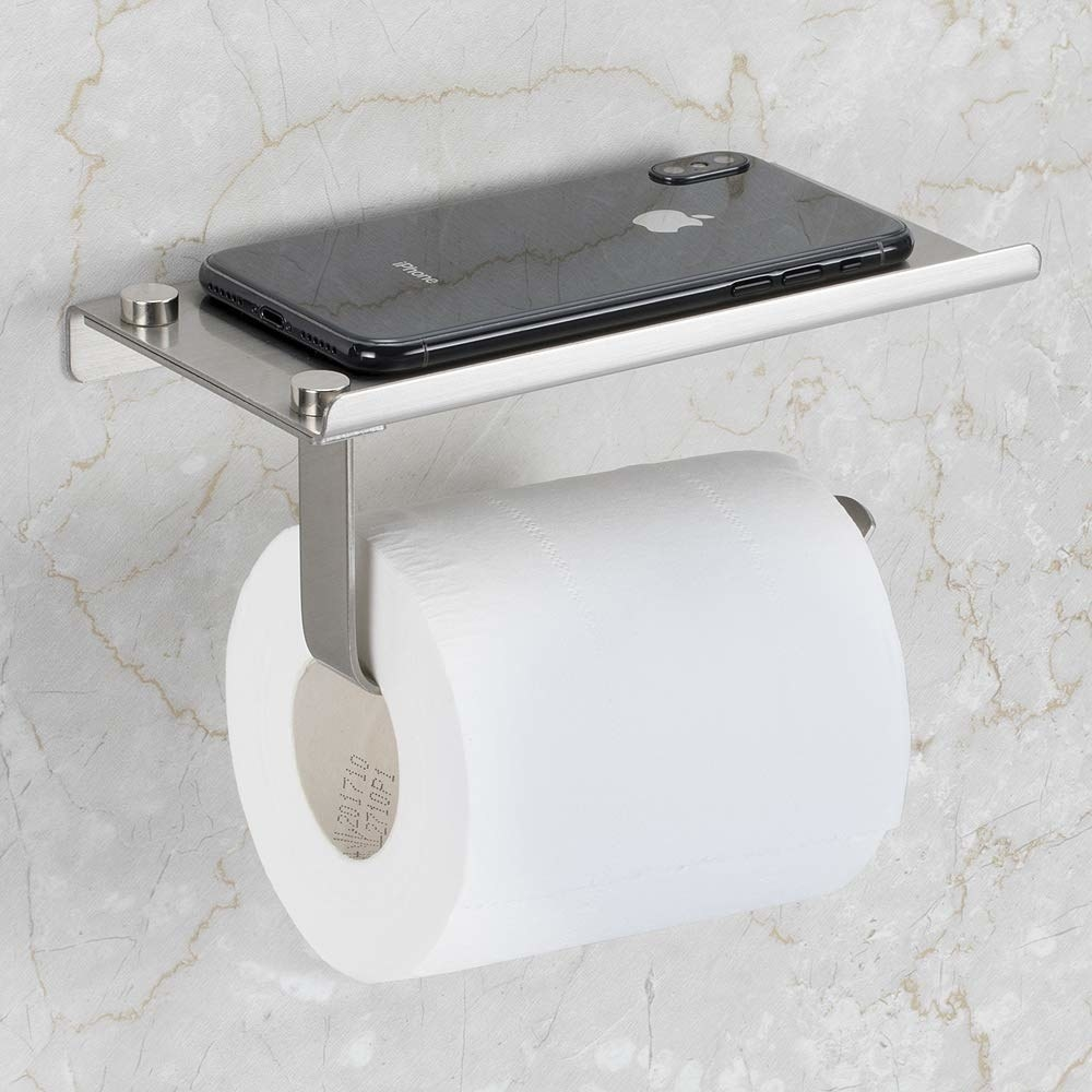 toilet paper holder with a stainless-steel shelf on top that's large enough to put down a phone