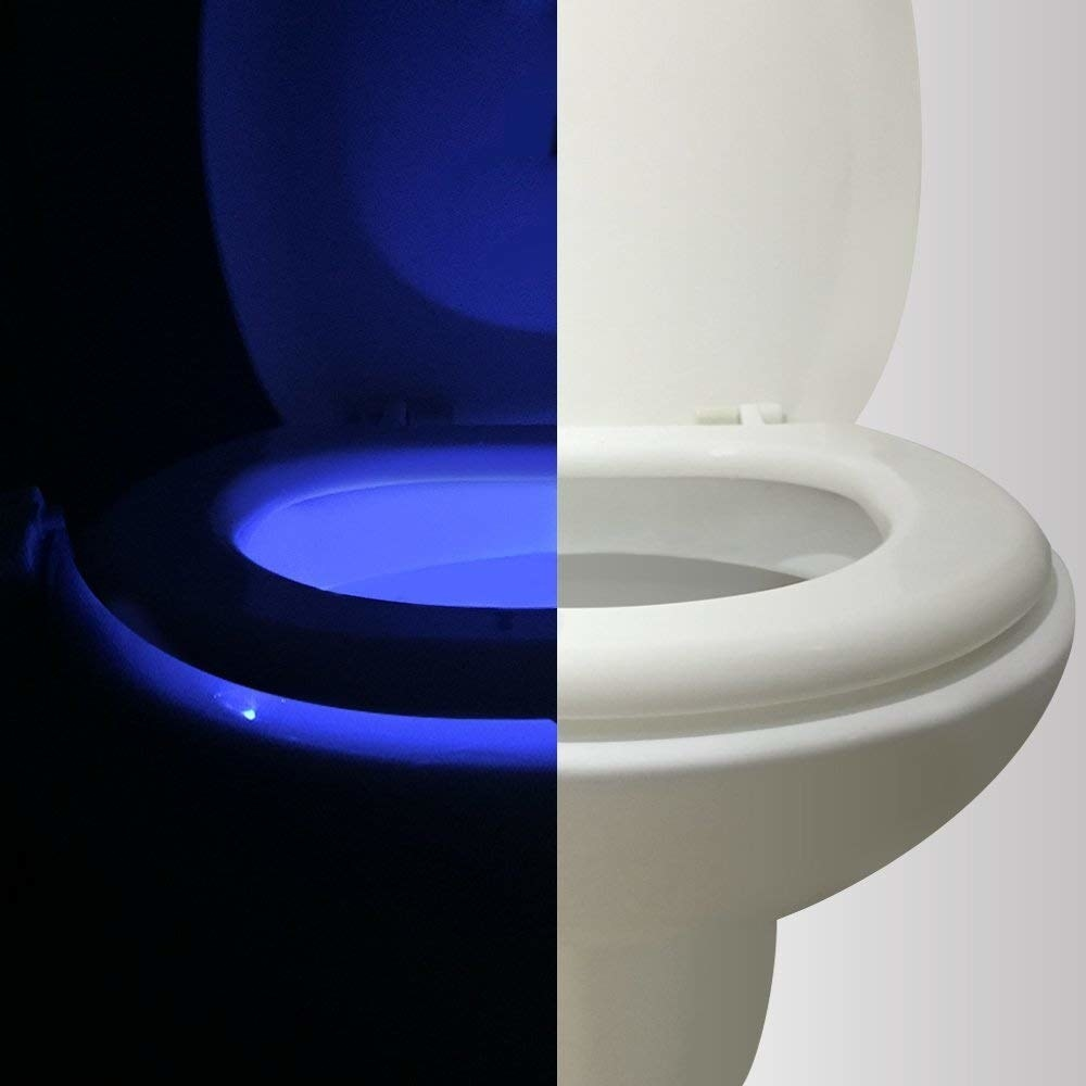 toilet with half in the daylight and half in the dark with the toilet lit up
