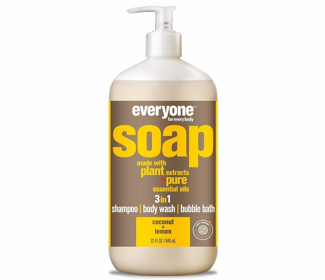 A plastic pump bottle of Everyone 3-in-1 Soap against a white background