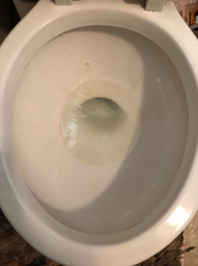 same looking toilet bowl looking stain-free and clean