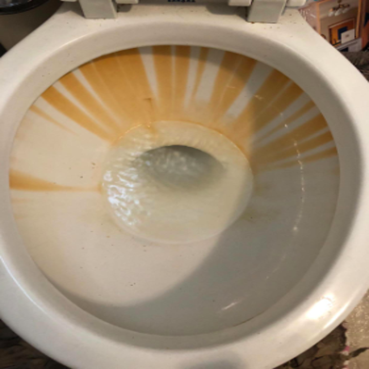 toilet bowl with lots of stains