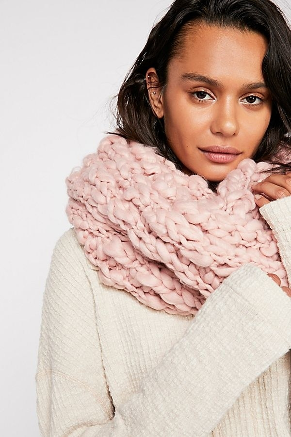 c60ef51fe0840 A chunky knit cowl scarf that's straight out of snuggly winter dreams.