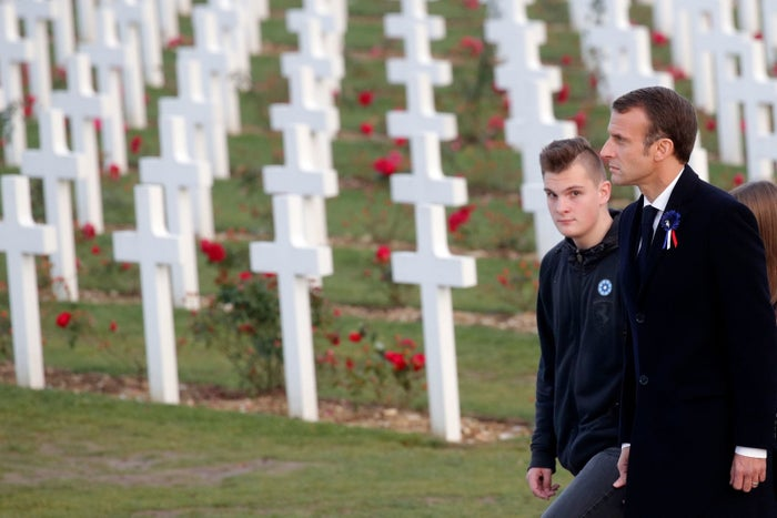 Macron at the Douaumont Ossuary near Verdun, a visit that kicked off a week of commemorations for the 100th anniversary of the end of World War I.