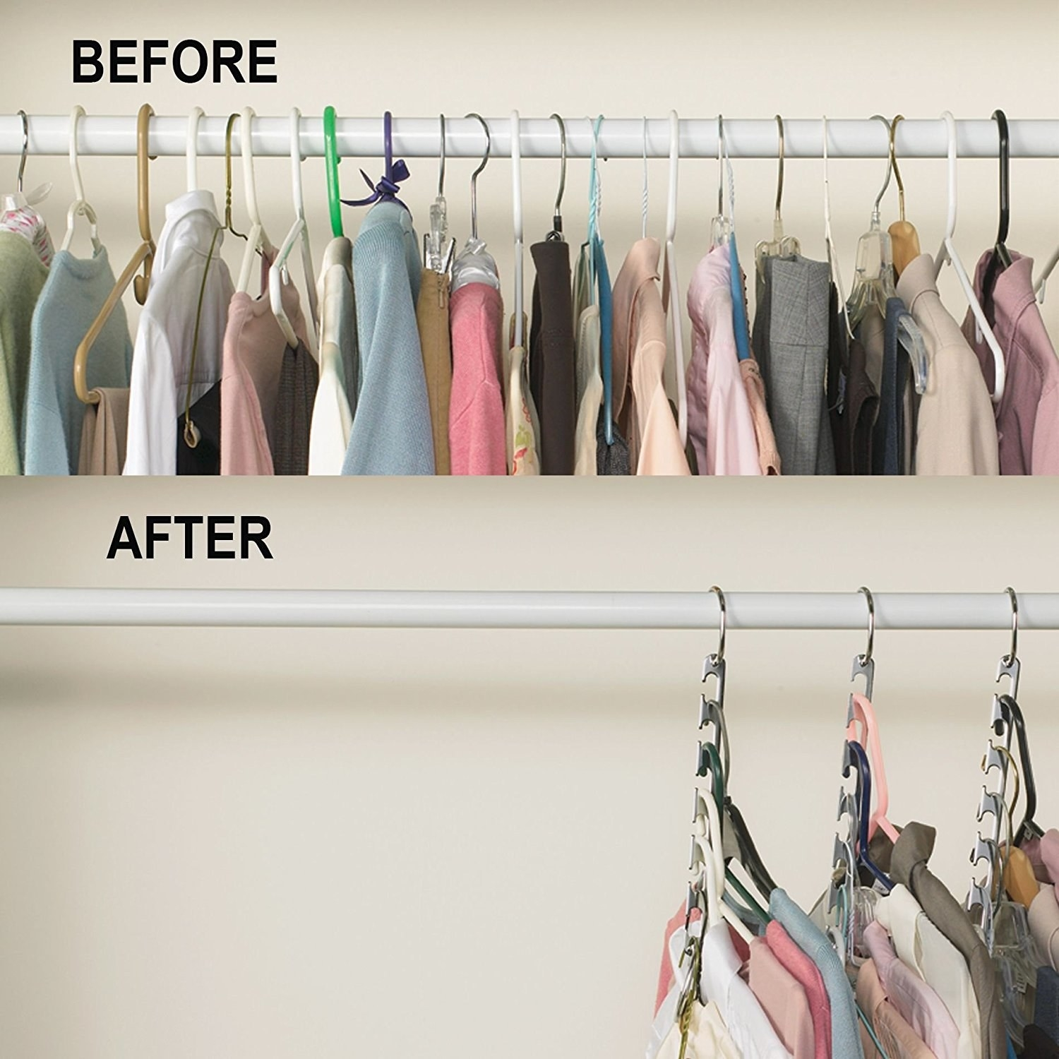 """A closet full of clothes labeled """"Before"""" followed by a much emptier closet labeled """"After"""" with clothes hanging on space-saving vertical organizers"""