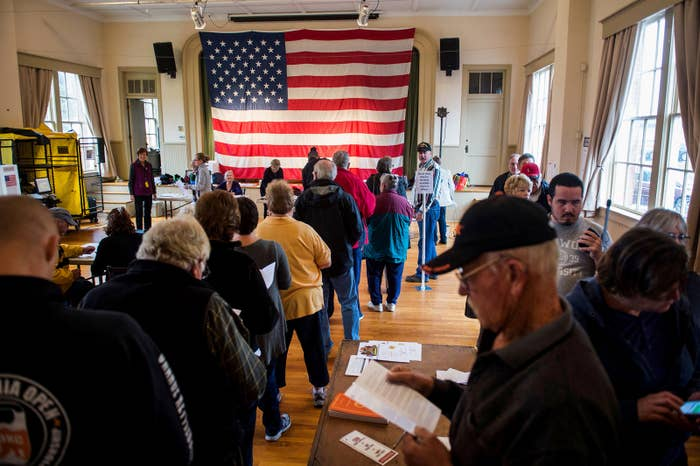 Voters wait to get a ballot at a polling station in Hillsboro, Virginia.