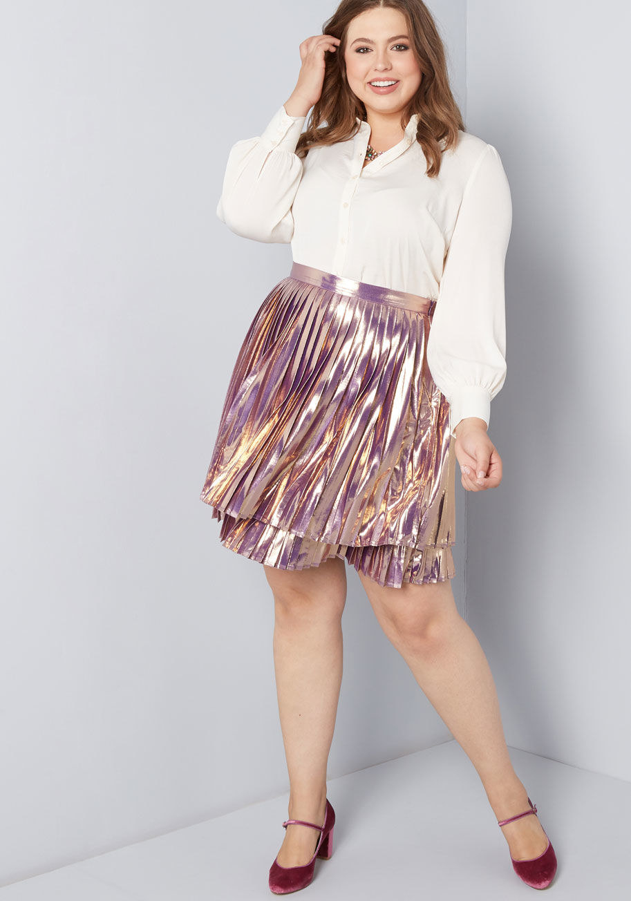 123ffe19f01 A pleated metallic mini you can rock with heels and a blouse to a holiday  party