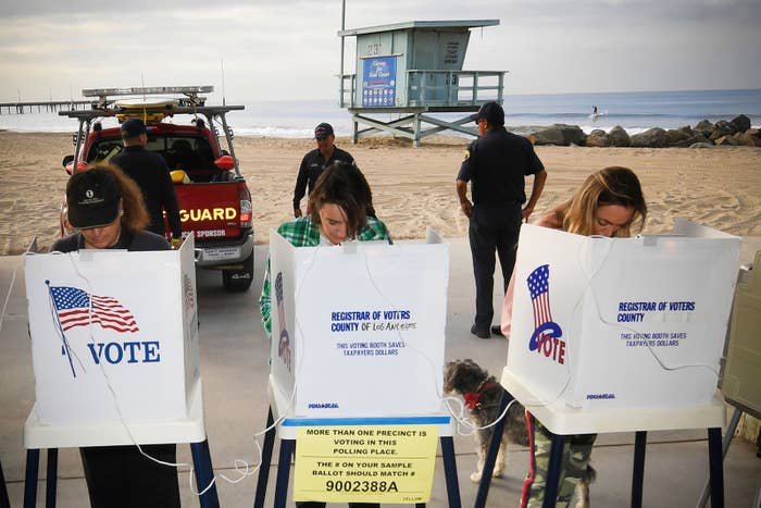 People vote at the Venice Beach lifeguard station in Los Angeles.