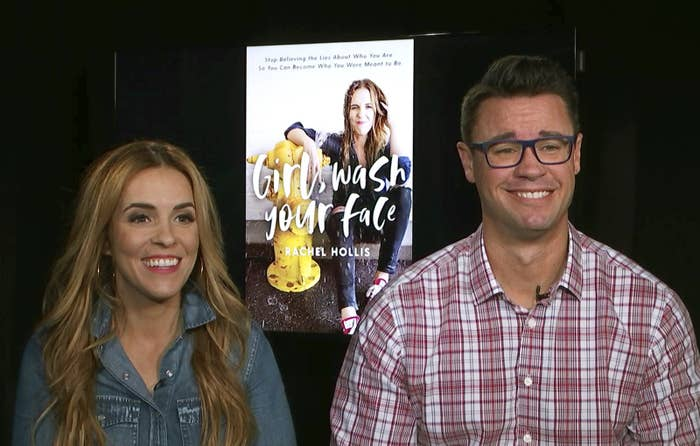 Rachel Hollis with her husband Dave during an interview.